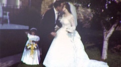 BIG SMOOCH! Bride and Groom Kissing 1960s Vintage Film Retro 8mm Home Movie 348 Stock Footage