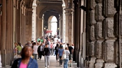 Bologna Street, Italian Historic City, European Old Street, Italy Stock Footage