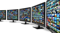 Rotating displays with images - stock footage