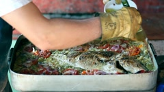 Baked Sea Fish With Vegetables - Dentex Dentex Stock Footage