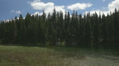Small shalow mountain lake in the pine forests. Breeze creates small ripples. Stock Footage