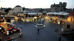 Illuminated, Hippocrates Square, Rhodes old Town, Rhodes Island, Greece Stock Footage