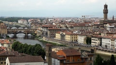 Aerial View of Florence, Italy, The Ponte Vecchio (Old Bridge), Arno River Stock Footage
