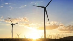 Wind Turbines generating energy on a Spanish hillside, Andalucia, Spain Stock Footage