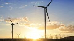 Wind Turbines generating energy on a Spanish hillside, Andalucia, Spain Stock Footage