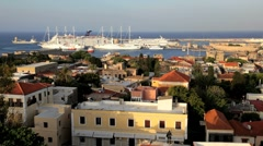 Rhodes Town with visiting Cruise ships in the Harbour, Greece, Europe Stock Footage