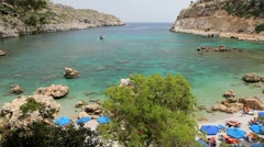 Quinn beach nr Lindos, Rhodes Island, Aegean Sea, Greece, Europe Stock Footage