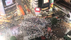 Japan, Tokyo, Shibuya, Shibuya Crossing at night Stock Footage