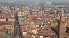HD Aerial View of Bologna, Italy, Bologna Cathedral, Cattedrale di San Pietro Stock Footage