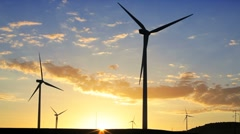Wind Turbines generating energy, Andalucia, Spain Stock Footage