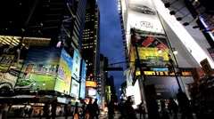 Times Square New York with billboards neon lights,  Manhattan, USA Stock Footage