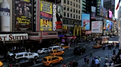 View looking towards Times Square, New York City, Manhattan, USA Stock Footage