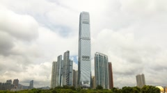 Hong Kong skyscrapers exterior - stock footage