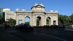 Madrid traffic at Alcala Gate of Carlos iii.MOV Stock Footage