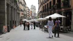 Madrid street with cafe Stock Footage