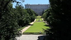Madrid royal palace lawn 1 Stock Footage