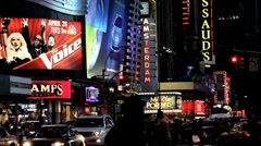 New York Theatre land with Illuminated signs, Manhattan, USA Stock Footage