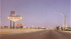 WELCOME TO LAS VEGAS Famous Sign Landmark 1960s Vintage Film Home Movie 266 - stock footage