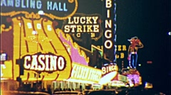 LAS VEGAS NEON LIGHTS Night Reno Casino Gamble 1960 Vintage Film Home Movie 270 Stock Footage