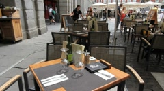 Madrid Plaza Mayor cafe 2.MOV Subclip Stock Footage