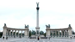 Stock Video Footage of Street View of Budapest, Heroes Square, Andrassy Avenue, Hosok Tere