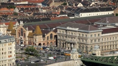 HD Aerial View of Budapest, Danube River, Liberty Bridge, Vasarcsarnok Market Stock Footage
