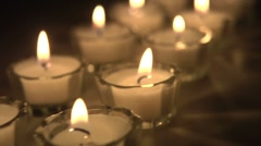 Two Rows of Candles Dolly Shot Stock Footage