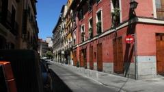 Madrid pink building Stock Footage