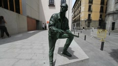 Madrid old town statue Stock Footage