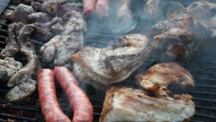 Fire burning wood barbecue Stock Footage