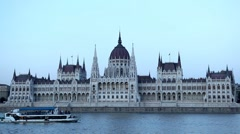 Street View of Budapest, Danube River, Hungarian Parliament Building Stock Footage