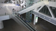Escalators in railway station - stock footage