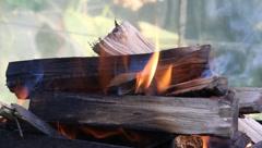 Burning wood Stock Footage