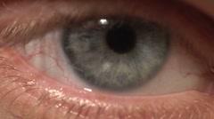 1080P Blue Pupil Human Eye Macro Close Up Stock Footage