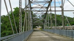 Steel Truss Bridge converted into a Passive Park v2 Stock Footage