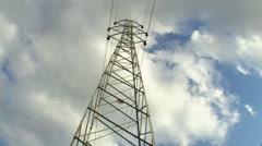 Electricity Pylon time lapse cloud dark cloud Stock Footage