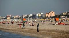 Beautiful Beach of Rimini, Northern Italy, Emilia-Romagna, Adriatic Sea, Famous Stock Footage