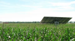 Time Lapse of Solar Panel Tracking the Sun in a Corn Field Stock Footage