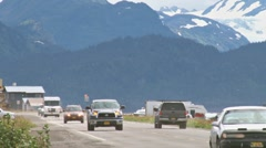 Homer Spit Road Traffic 4 Stock Footage