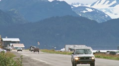 Homer Spit Road Traffic 3 Stock Footage