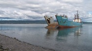 Landing Craft awaiting the Tide and Cargo Stock Footage
