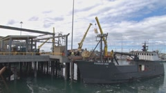 Commercial Fishing Vessel Loading Supplies Stock Footage