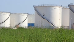 Oil storage tanks in Antalya, Turkey Stock Footage