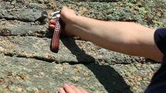 Rock climbing. - stock footage