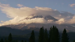 Time Lapse of Clouds Over Mt Shasta - stock footage