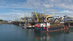 Boats Dock Cranes Timelapse Stock Footage