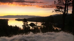 Beautiful Sunrise, Eagle Falls Lake Tahoe Stock Footage