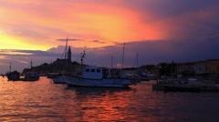 Rovinj port on sunset, Croatia Stock Footage