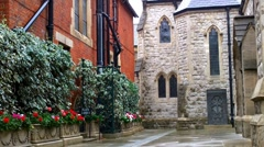 Church Courtyard in London Stock Footage