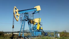 HD Fossil Fuel Energy, Oil Pump, Pumpjack, Old Pumping Unit, Jack Pump, Donkey - stock footage